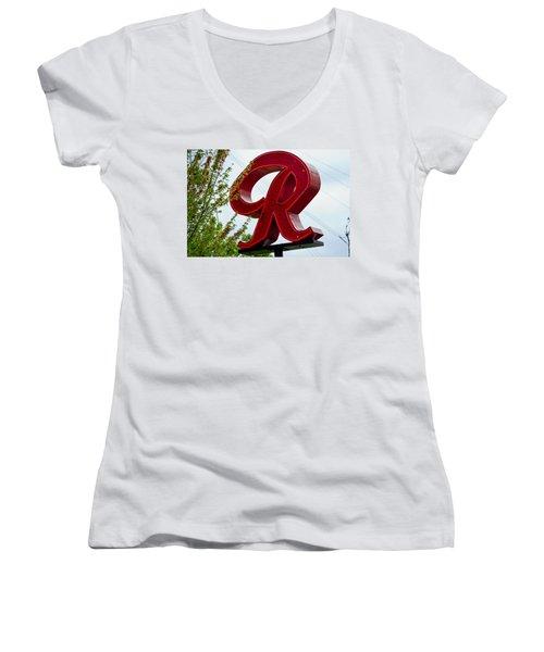 Red  Women's V-Neck