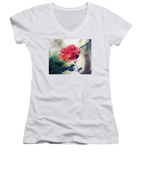 Red Rose On A Branch Women's V-Neck T-Shirt (Junior Cut) by Greta Corens