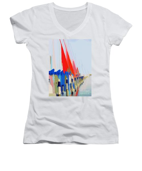 Red Sails In The Sunset Women's V-Neck T-Shirt