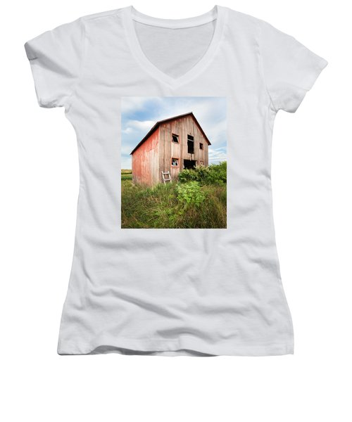 Women's V-Neck T-Shirt (Junior Cut) featuring the photograph Red Shack On Tucker Rd - Vertical Composition by Gary Heller