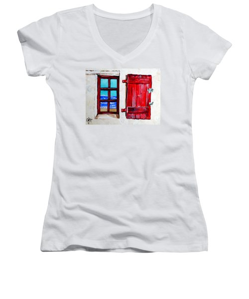 Red Shutter Ocean Women's V-Neck T-Shirt