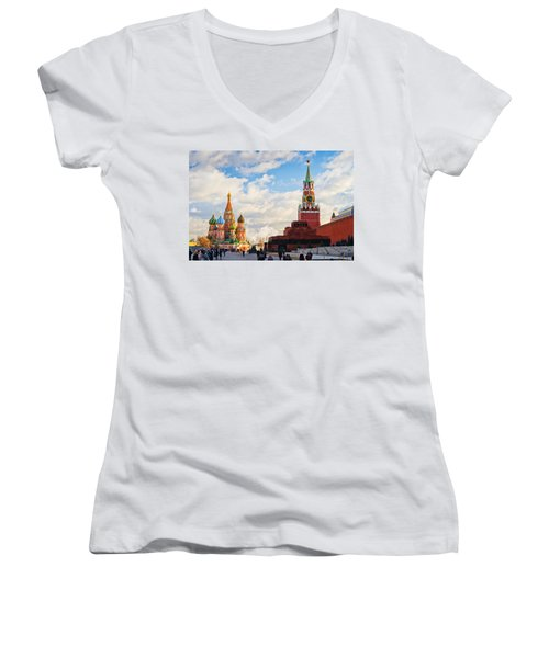 Red Square Of Moscow - Featured 3 Women's V-Neck T-Shirt (Junior Cut) by Alexander Senin