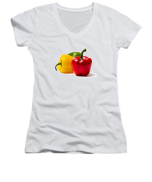 Red Sweet Pepper - Square Women's V-Neck T-Shirt (Junior Cut) by Alexander Senin