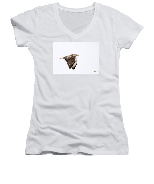 Red Tail In Flight Women's V-Neck (Athletic Fit)