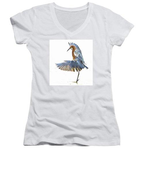 Reddish Egret 1 Women's V-Neck T-Shirt (Junior Cut) by William Horden