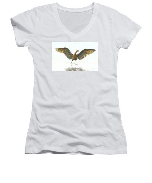 Reddish Egret 2 Women's V-Neck T-Shirt (Junior Cut) by William Horden