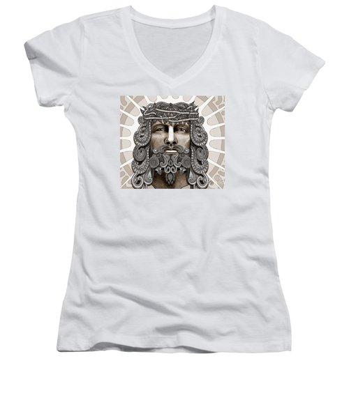 Redeemer - Modern Jesus Iconography - Copyrighted Women's V-Neck T-Shirt (Junior Cut) by Christopher Beikmann