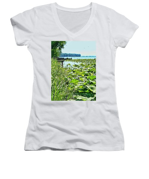 Reelfoot Lake Lilly Pads Women's V-Neck (Athletic Fit)