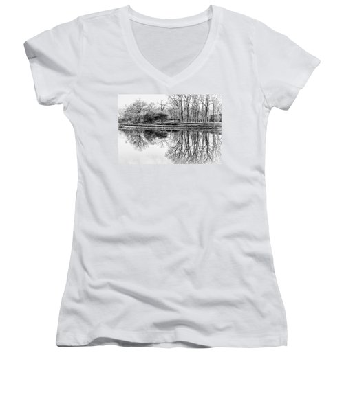 Reflection In Black And White Women's V-Neck T-Shirt (Junior Cut) by Julie Palencia
