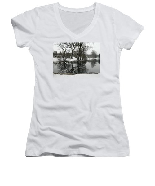 Women's V-Neck T-Shirt (Junior Cut) featuring the photograph Reflection Pond Spring Grove Cemetery by Kathy Barney