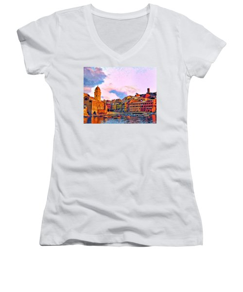 Relaxing Around Vernazza Women's V-Neck T-Shirt (Junior Cut) by Michael Pickett