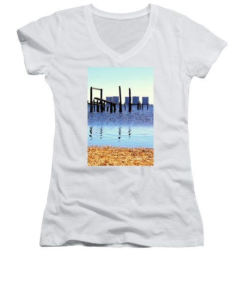 Women's V-Neck T-Shirt (Junior Cut) featuring the photograph Reminders by Faith Williams