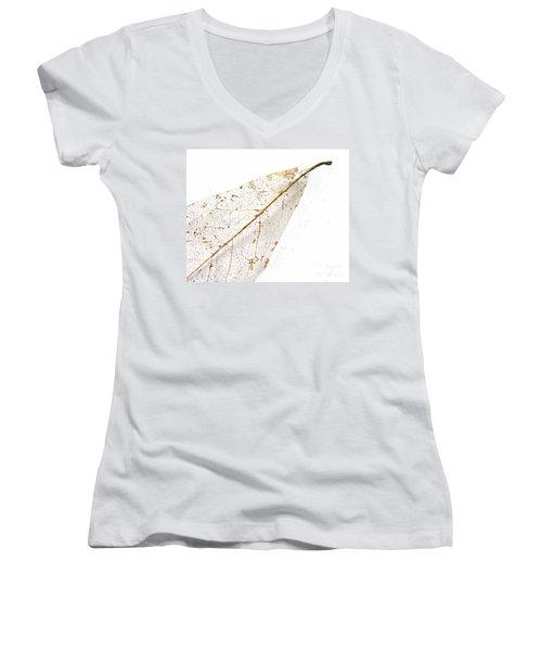 Remnant Leaf Women's V-Neck T-Shirt (Junior Cut) by Ann Horn