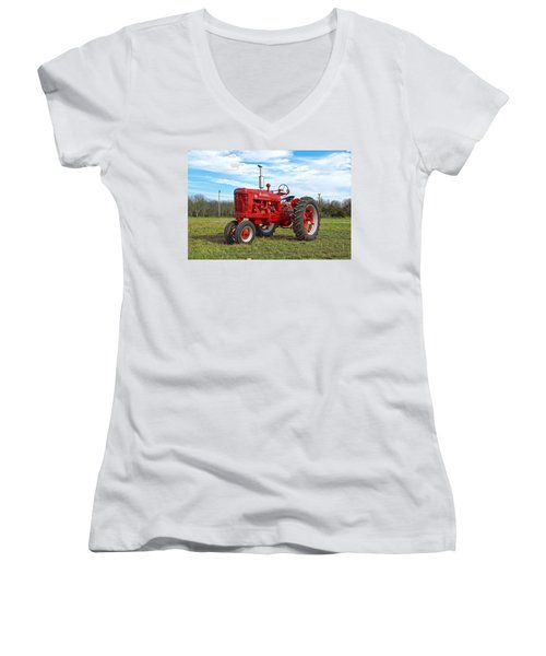 Restored Farmall Tractor Women's V-Neck T-Shirt (Junior Cut) by Charles Beeler