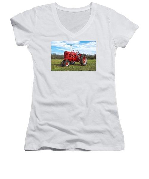 Restored Farmall Tractor Women's V-Neck (Athletic Fit)