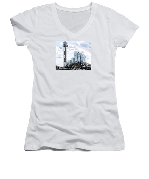 Women's V-Neck T-Shirt (Junior Cut) featuring the photograph Reunion Tower Dallas Texas by Kathy Churchman
