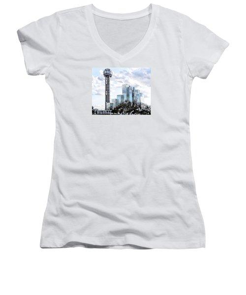Reunion Tower Dallas Texas Women's V-Neck T-Shirt (Junior Cut) by Kathy Churchman