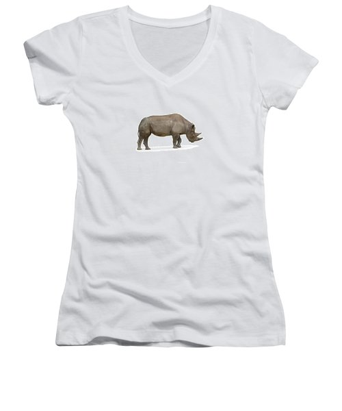 Women's V-Neck T-Shirt (Junior Cut) featuring the photograph Rhinoceros by Charles Beeler