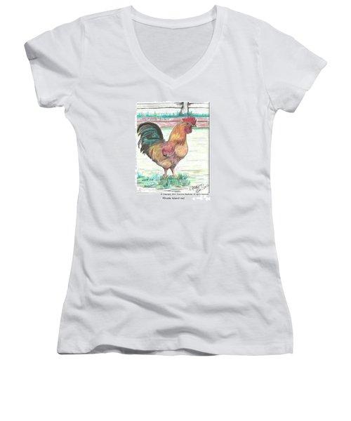 Rhode Island Red Women's V-Neck T-Shirt (Junior Cut)
