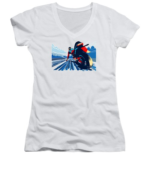 Riding On The Edge Women's V-Neck T-Shirt (Junior Cut) by Sassan Filsoof