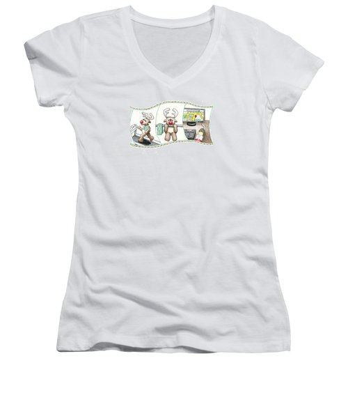 Women's V-Neck T-Shirt (Junior Cut) featuring the drawing Right Before X'mas by Keiko Katsuta
