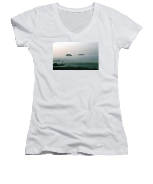 Rising From The Mist Women's V-Neck T-Shirt (Junior Cut) by David Porteus