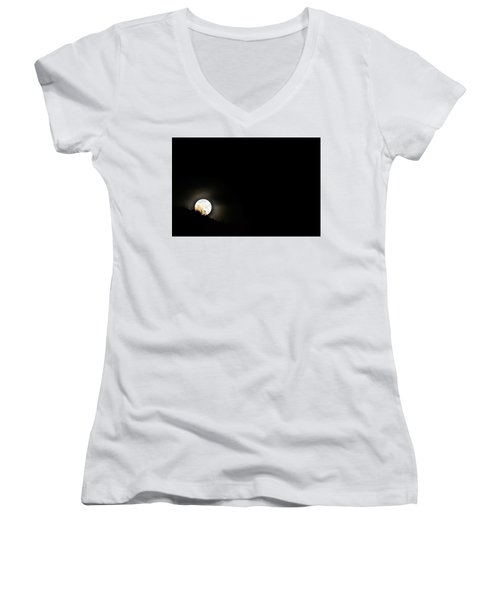 Women's V-Neck T-Shirt (Junior Cut) featuring the photograph Rising Moon by Joel Loftus