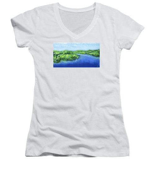 Women's V-Neck T-Shirt (Junior Cut) featuring the painting River Bend by Stephen Anderson