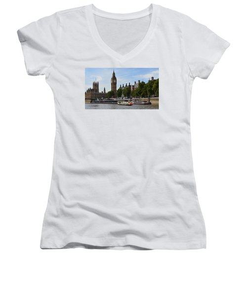 River Thames View Women's V-Neck (Athletic Fit)