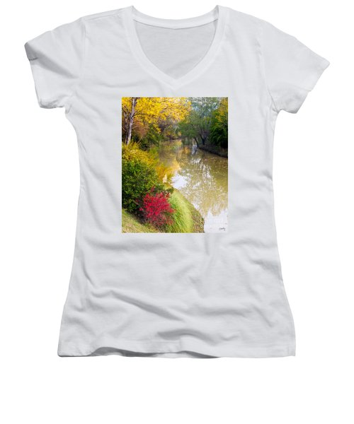 River With Autumn Colors Women's V-Neck