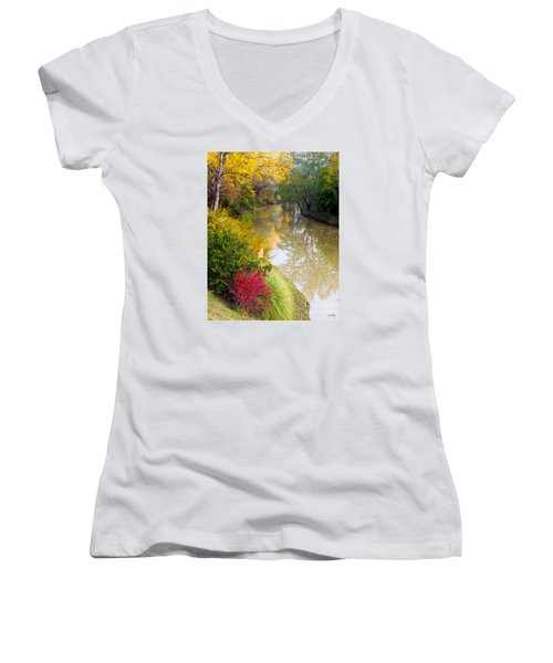 River With Autumn Colors Women's V-Neck T-Shirt