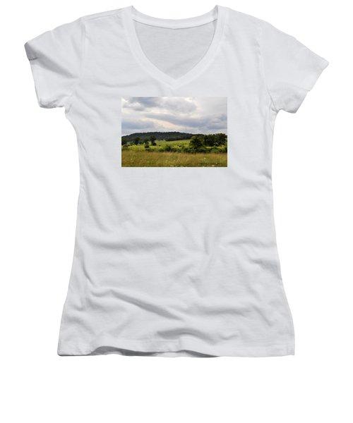 Women's V-Neck T-Shirt (Junior Cut) featuring the photograph Road Trip 2012 by Verana Stark