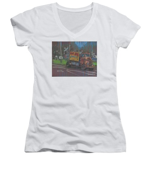 Women's V-Neck T-Shirt (Junior Cut) featuring the painting Roadside Advertising by Donald Maier