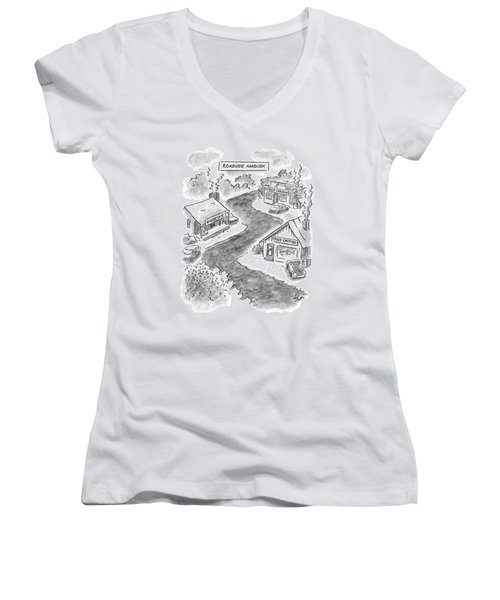 Roadside Ambush Women's V-Neck T-Shirt (Junior Cut) by Frank Cotham