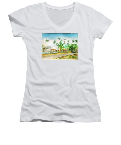 Roadside Food Stands Puerto Rico Women's V-Neck