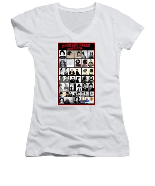 Rock And Roll's Most Wanted Women's V-Neck T-Shirt