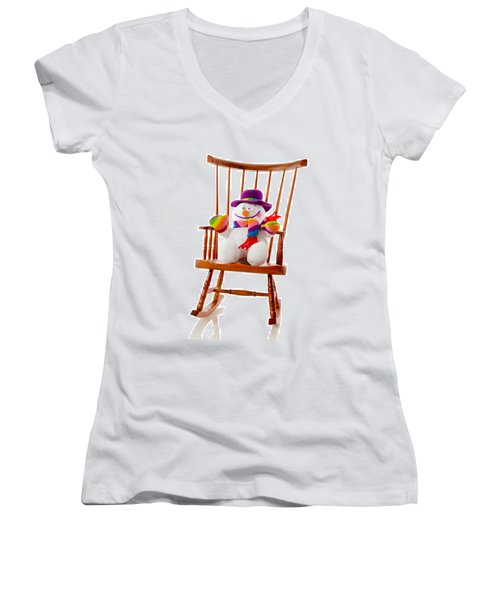 Women's V-Neck T-Shirt (Junior Cut) featuring the photograph Happy Snowman Sitting In A Rocking Chair  by Vizual Studio