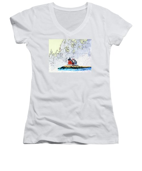 Rockland Breakwater Light Women's V-Neck T-Shirt (Junior Cut) by Mike Robles
