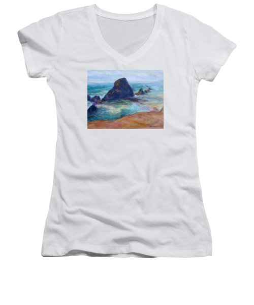 Rocks Heading North - Scenic Landscape Seascape Painting Women's V-Neck