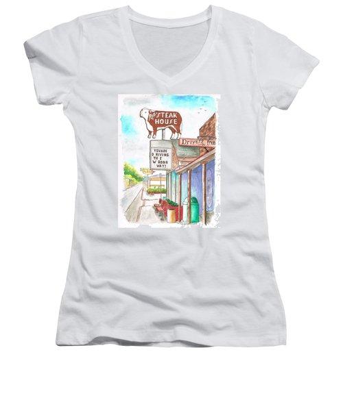 Rod's Steak House In Route 66 - Williams - Arizona Women's V-Neck T-Shirt (Junior Cut) by Carlos G Groppa