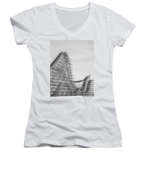 Roller Coaster Wildwood Women's V-Neck T-Shirt (Junior Cut) by Eric  Schiabor