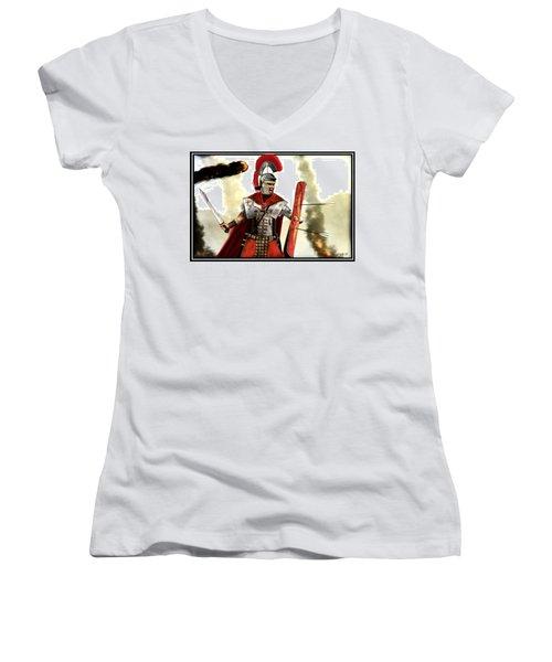 Roman Centurion Women's V-Neck T-Shirt (Junior Cut) by John Wills