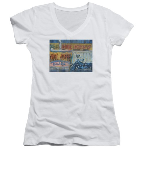 Women's V-Neck T-Shirt (Junior Cut) featuring the painting Ronnie's Bike by Donald Maier