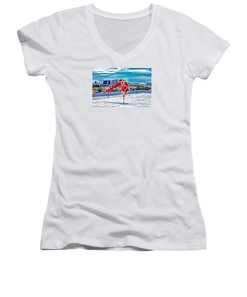 Roof Top Women's V-Neck T-Shirt (Junior Cut) by Gregory Worsham