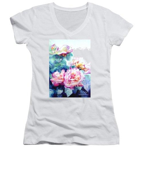 Women's V-Neck T-Shirt (Junior Cut) featuring the painting Pink Rose Bush by Greta Corens
