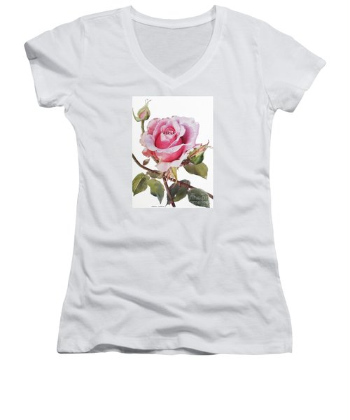 Pink Rose Grace Women's V-Neck T-Shirt (Junior Cut) by Greta Corens