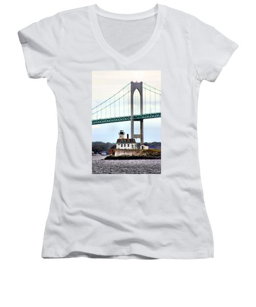 Rose Island Lighthouse Women's V-Neck T-Shirt