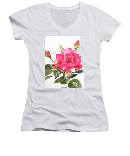 Watercolor Red Rose Margaret Women's V-Neck T-Shirt