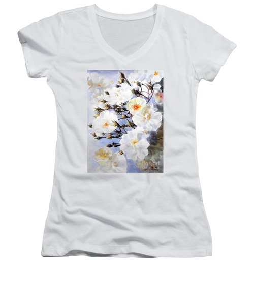 Rose Tchaikowsky A Stem Of White Roses And Buds Women's V-Neck T-Shirt (Junior Cut) by Greta Corens