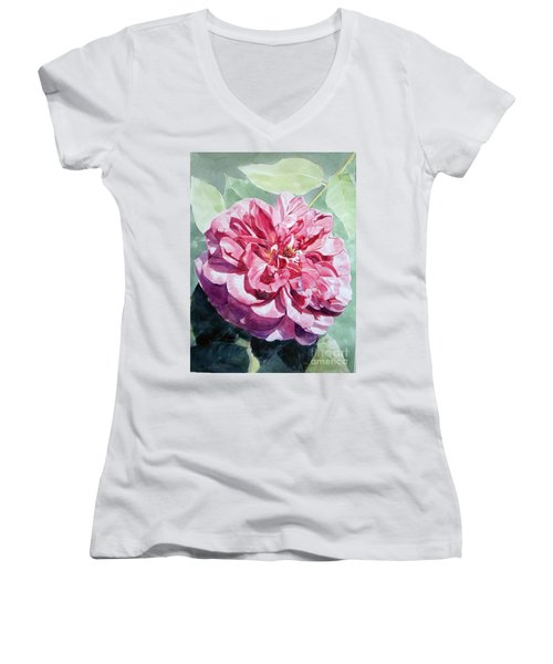 Watercolor Of A Pink Rose In Full Bloom Dedicated To Van Gogh Women's V-Neck T-Shirt